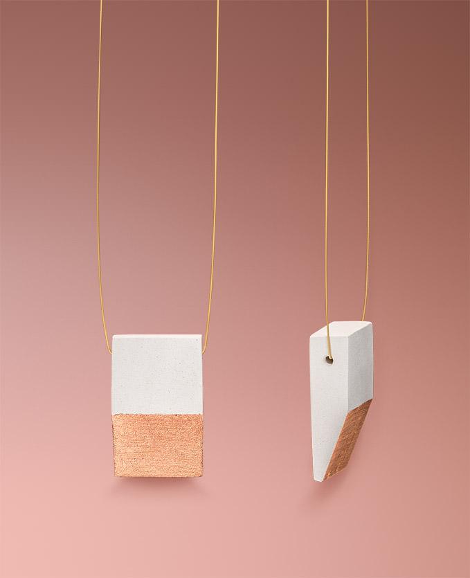 Handgefertigter minimalistischer Keramikschmuck in weiß